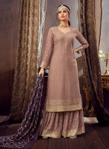 Pink Pure Georgette Festival Wear Embroidery Work Sharara Suit