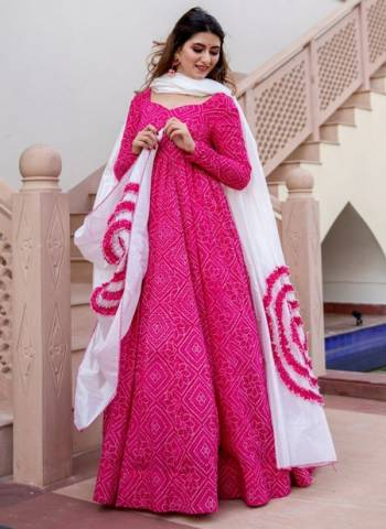 Pink Pure Muslin Party Wear Print Work Gown With Dupatta