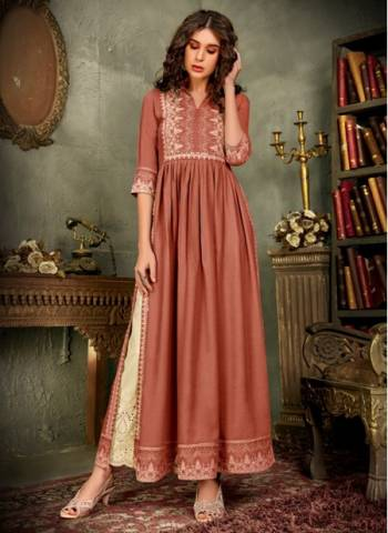 Pink Pure Rayon Traditional Wear Designer Hand Work Kurti With Pant