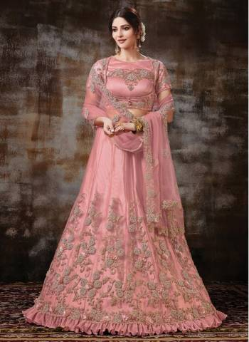 Pink Satin Net Wedding Wear Designer Cording Work Lehenga Choli