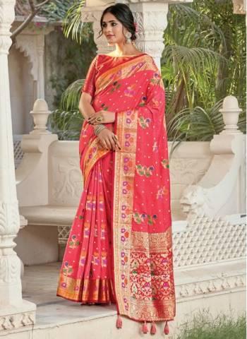 Pink Silk Festival Wear Designer Weaving Saree