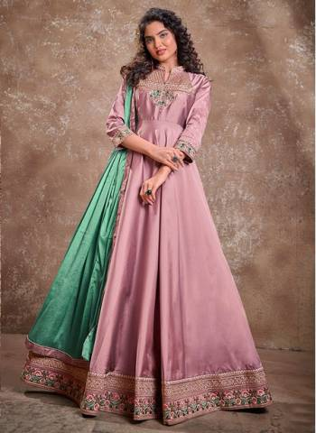 Pink Silk Party Wear Fancy Embroidery Work Gown With Dupatta