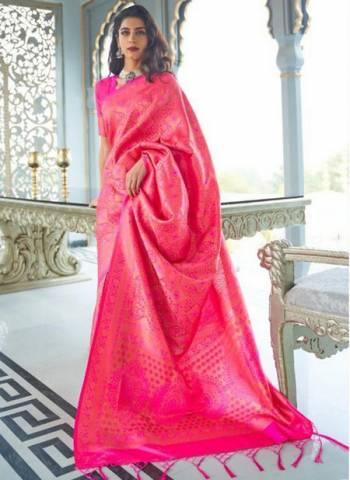 Pink Silk Party Wear Designer Weaving Saree