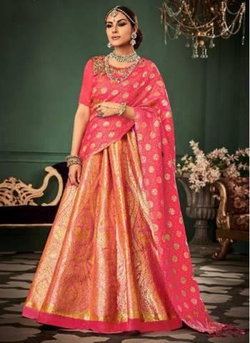 Pink Silk Wedding Wear Weaving Designer Lehenga Choli