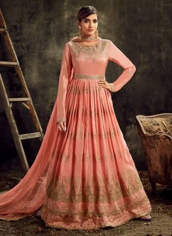 Pink Upada Silk  Wedding Wear Embroidery Work Designer Anarkali Suit