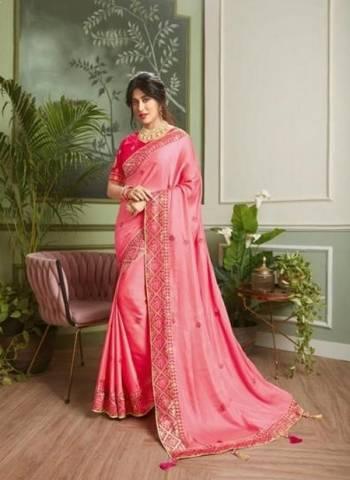 Pink Vichitra Silk Party Wear Embroidery Border Work Saree