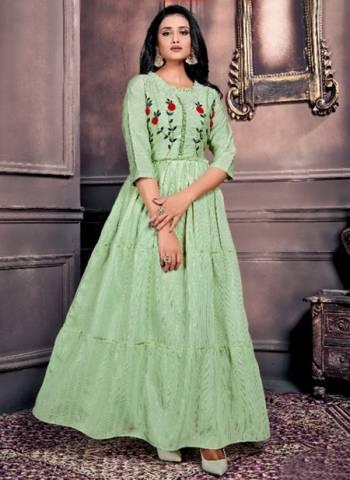 Pista Green Chanderi Party Wear Hand Work Long Kurtis