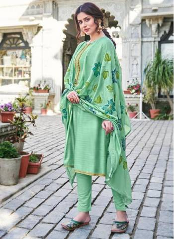 Pista Green Cotton Silk Party Wear Embroidery Work Palazzo Suit