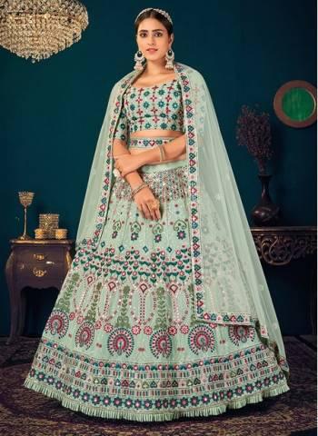 Pista Green Georgette Reception Wear Thread Work Wedding Lehenga Choli
