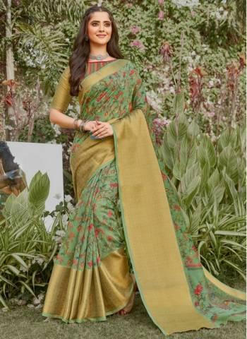 Pista Green Linen Party Wear Designer Weaving Saree