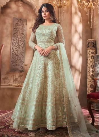Pista Green Net Wedding Wear Designer Heavy Embroidery Work Anarkali Suit