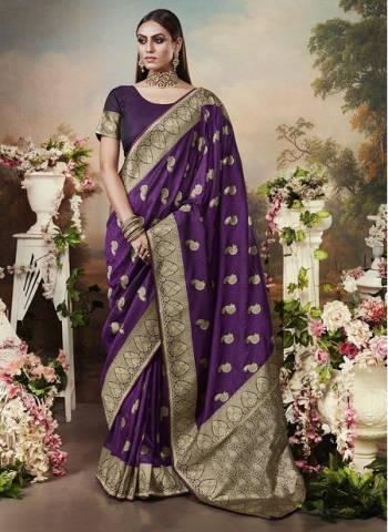 Purple Banarasi Silk Designer Heavy Weaving Wedding Wear Saree