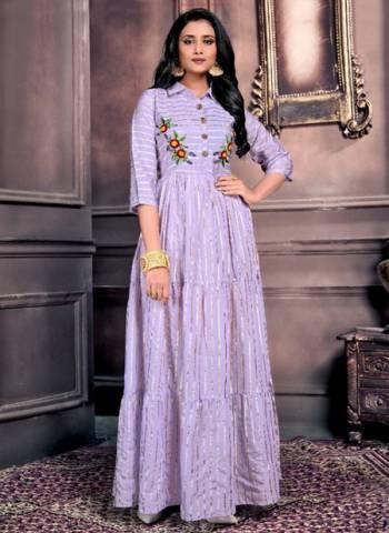 Purple Chanderi Party Wear Hand Work Long Kurtis