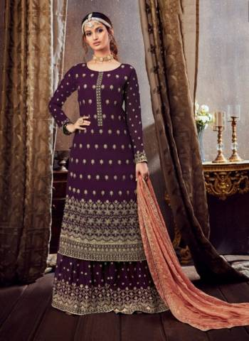 Purple Pure Georgette Festival Wear Embroidery Work Sharara Suit