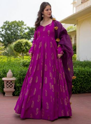 Purple Pure Rayon Party Wear Print Work Gown With Dupatta