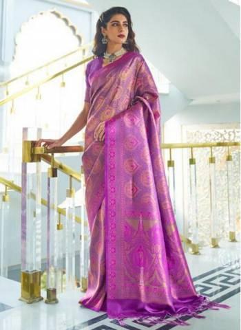 Purple Silk Party Wear Designer Weaving Saree