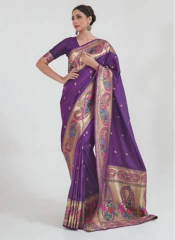 Purple Silk Wedding Wear Fancy Weaving Saree