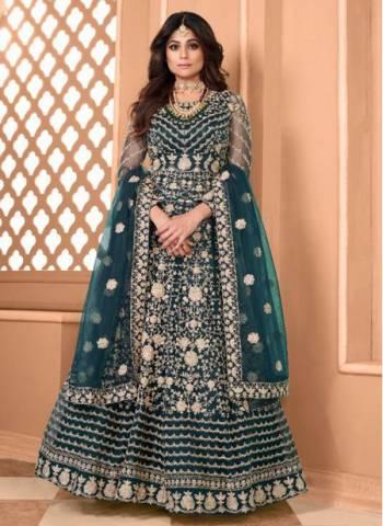 Rama Blue Net Wedding Wear Designer Heavy Embroidery Work Anarkali Suit