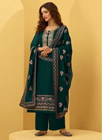 Rama Georgette Wedding Wear Fancy Embroidery Work Palazzo Suit