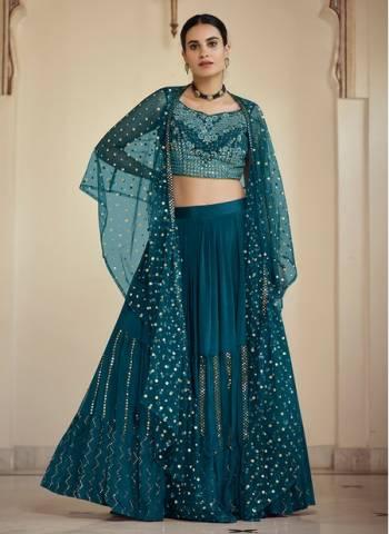 Rama Green Crepe Wedding Wear Stylish Thread Work Lehenga Choli