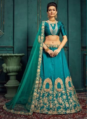 Rama Silk Wedding Wear Embroidery Work Designer Lehenga Choli