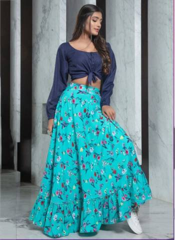 Rama Sky Rayon Party Wear Designer Fancy Printed Work Top With Skirt