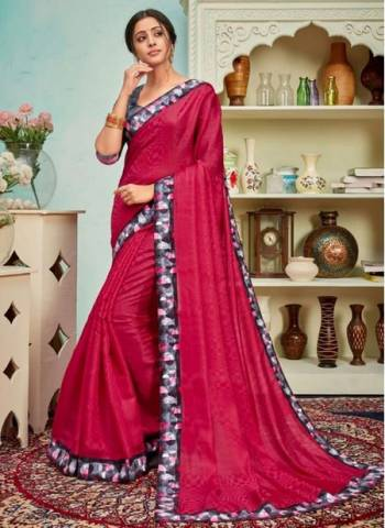 Rani Polyster Silk Party Wear Designer Digital Border Work Saree