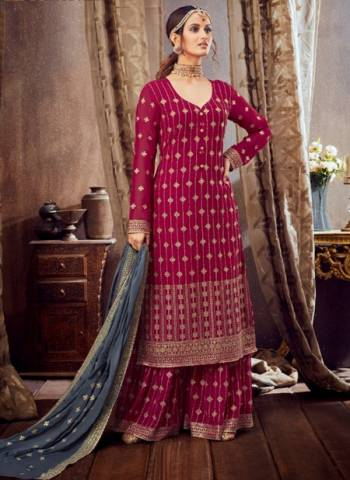 Rani Pure Georgette Festival Wear Embroidery Work Sharara Suit