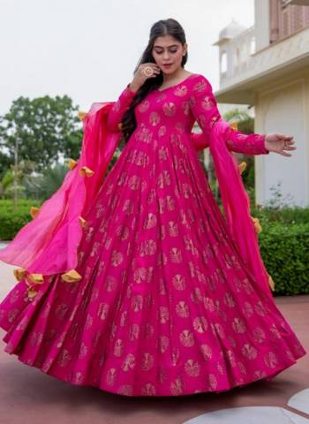 Rani Pure Rayon Party Wear Print Work Gown With Dupatta