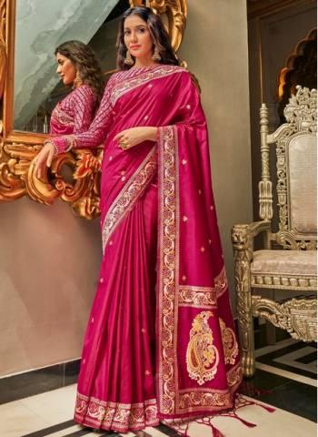 Rani Pure Silk Wedding Wear Traditional Weaving Saree