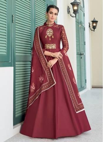 Rani Silk Festival Wear Designer Embroidery Readymade Anarkali Suit