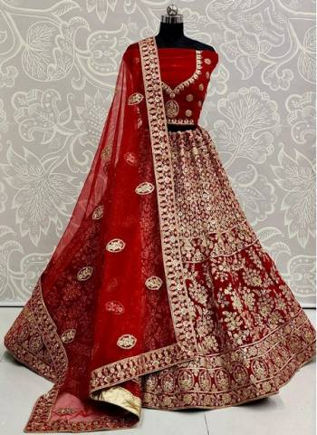 Rani Velvet Wedding Wear Designer Sequins Work Lehenga Choli