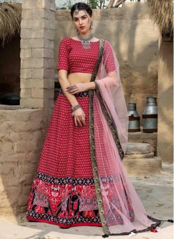 Red Art Silk Party Wear Designer Printed Work Lehenga Choli