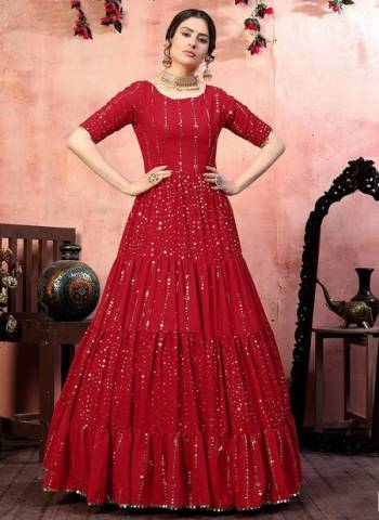 Red Georgette Party Wear Sequins Work Gown