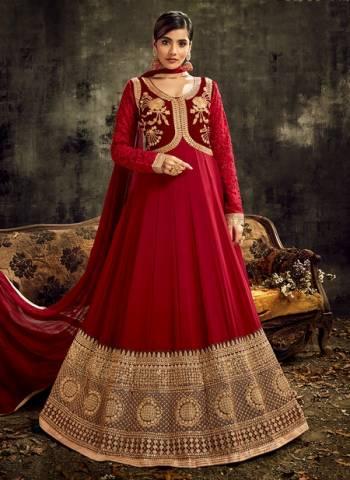 Red Georgette Wedding Wear Embroidery Work Designer Anarkali Suit