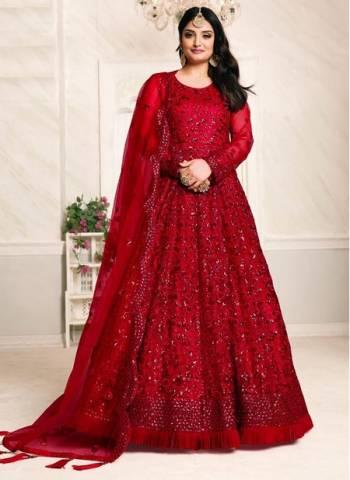 Red Net Party Wear Designer Sequins Work Anarkali Suit