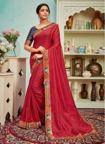 Red Polyster Silk Party Wear Designer Digital Border Work Saree