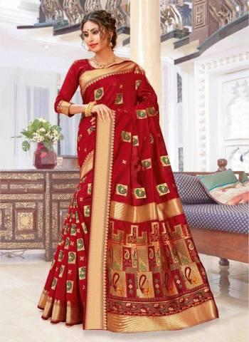 Red Pure Chanderi Cotton Party Wear Weaving Sarees