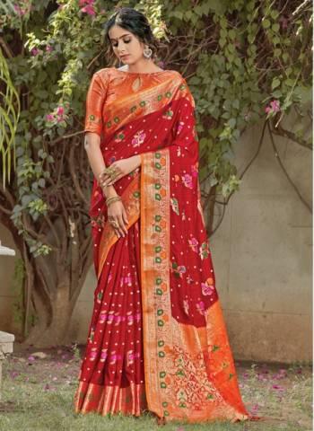 Red Silk Festival Wear Designer Weaving Saree