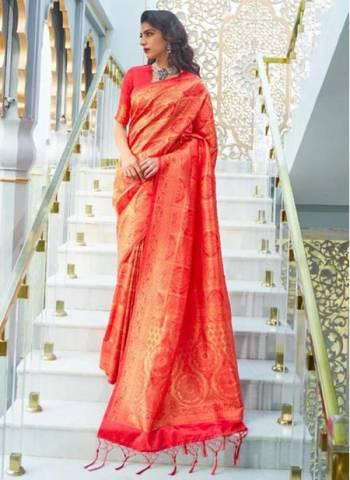Red Silk Party Wear Designer Weaving Saree