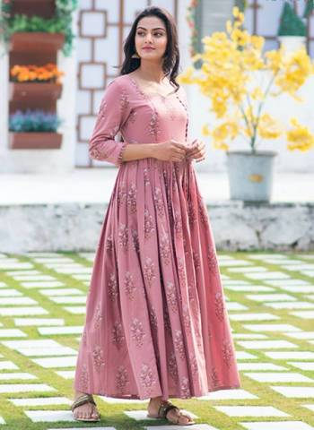 Rose Pink Pure Muslin Stylish Casual Wear Printed Work Gown