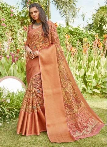Rose Gold Linen Party Wear Designer Weaving Saree