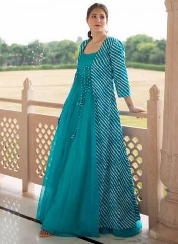 Sky Blue Georgette Party Wear Digital Print Gown