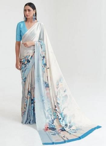 Sky Blue Japan Satin Casual Wear Digital Printed Saree