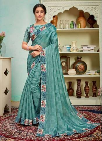 Sky Blue Polyster Silk Party Wear Designer Digital Border Work Saree