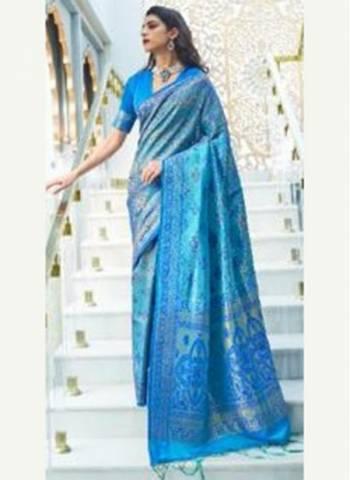 Sky Blue Silk Party Wear Designer Weaving Saree