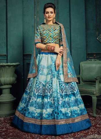 Sky Blue Silk Wedding Wear Embroidery Work Designer Lehenga Choli