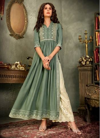 Teal Blue Pure Rayon Traditional Wear Designer Hand Work Kurti With Pant
