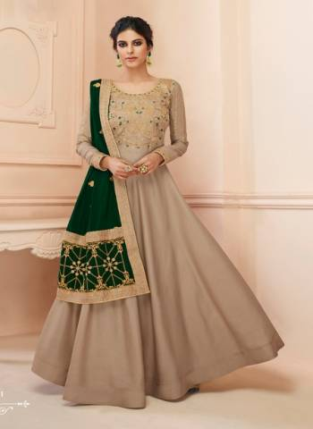 Tussar Silk Wedding Gown Style Anarkali In Beige Color