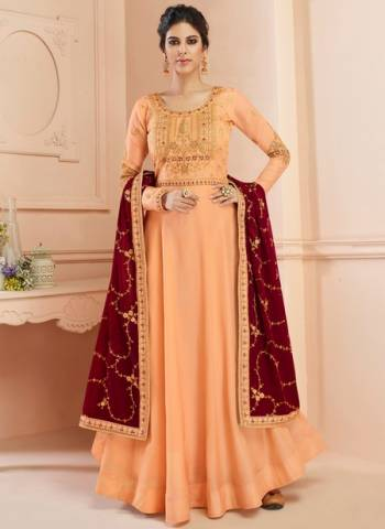 Tussar Silk Wedding Gown Style Anarkali In Peach Color